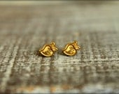 Tiny Strawberry Earring Studs in Raw Brass, Stainless Steel Posts
