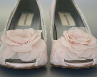 Custom Wedding Shoes, Blush Wedge Peep Toe Wedding Shoes, Ivory Lace Overlay, Chiffon Flower, Pearl Buttons and Blue Painted Sole