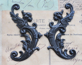 TWO Winged Gargoyles Brass Stampings, Left and Right, Black Satin Finish