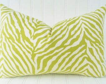 Green Zebra Pillow Cover 12 x 18 - Green and White Zebra Lumbar Pillow Cover