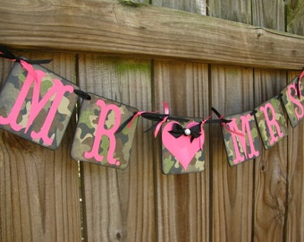 Mr. And Mrs Camo Banner, Camo And Fuchsia, Camouflage Wedding Banner, The