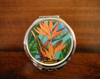 Compact Mirror  Bird of Paradise  Artwork by Candace Lee.  Made in Hawaii.