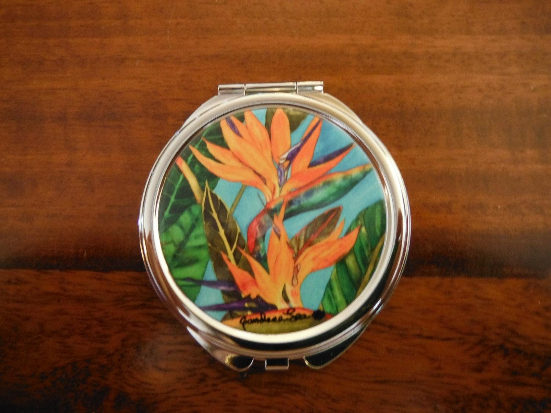 Miroir compact oiseau de paradis oeuvre par candace lee fait for Miroir un paradis
