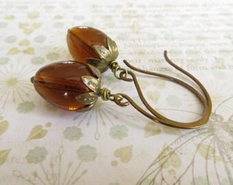 Acorn Earrings, Brown Earrings, Uk Seller, Autumn Jewellery, Fall Jewelry, Brass Earrings, Acorn Jewelry