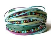 boho leather wrap bracelet, ribbon, suede, purple, green, seed beads, aqua, rocker, triple wrap - jcudesigns