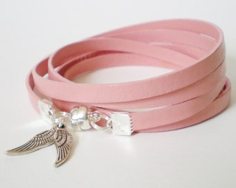 pink leather wrap bracelet, angel wings cuff bracelet, pink leather bracelet, bohemian leather wrap, rocker style cuff, gift for her