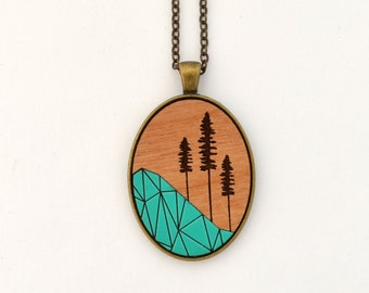 Geometric Nature - Geometric Sitka Tree - laser cut wooden necklace