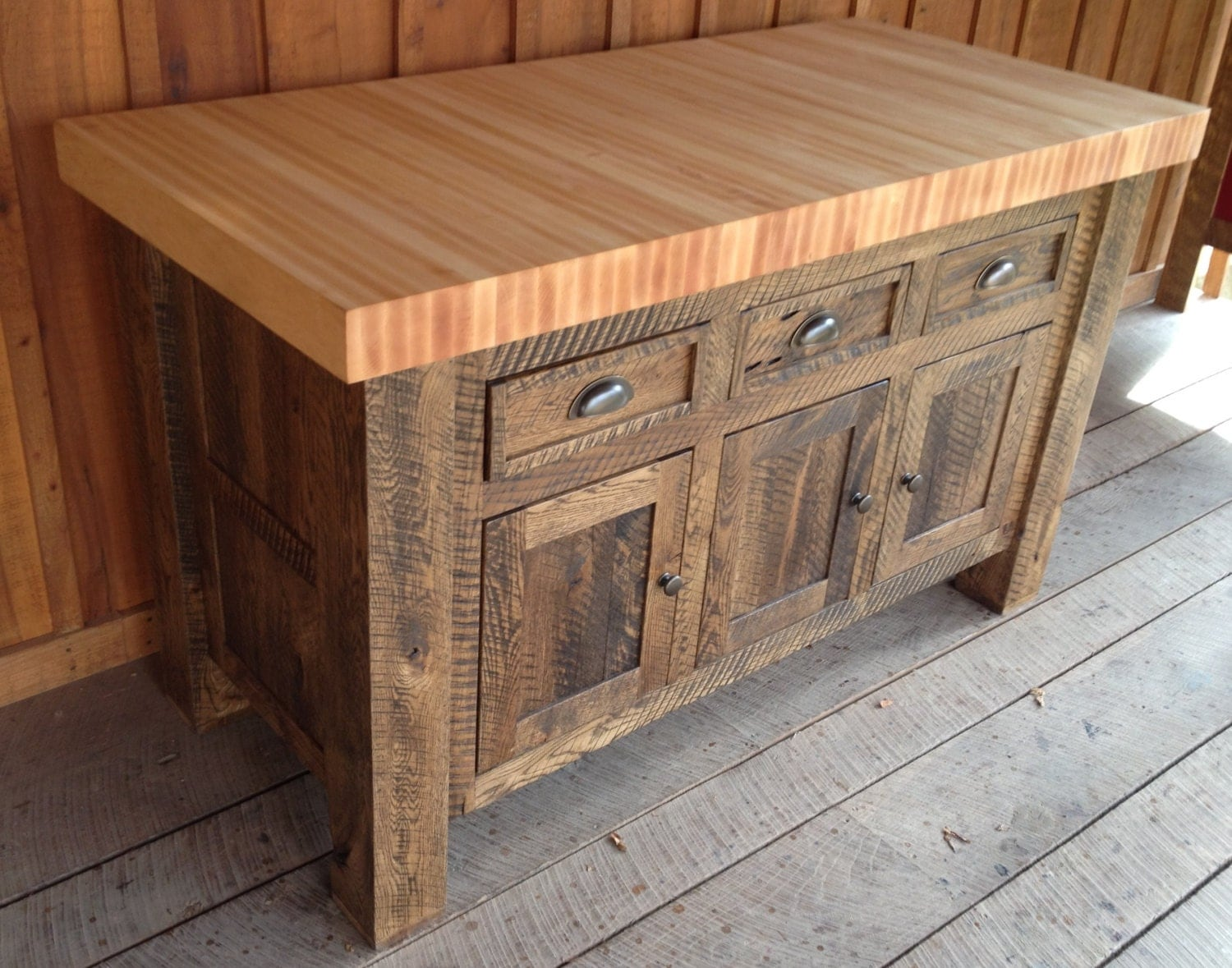 Dark oak butcher block kitchen island