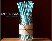 25 Teal and White Striped Paper Straws - Standard 7.75'' / 19.68cm