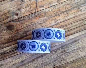 Japanese Washi Tape - Masking Tape roll in Blue Butterfly
