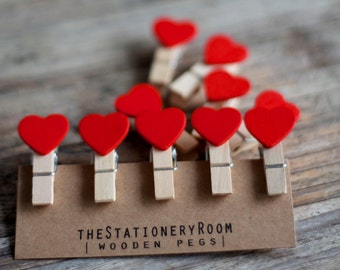 Mini Wooden Red Heart Shape Pegs for Gift Packaging, Wedding Favours, Handmade Goods - Set of 10