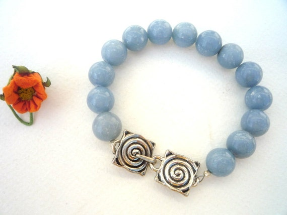 Gemstones bracelet,  Spiral Sterling Silver closure, Angelite gemstone bracelet, Blue gemstone bracelet, Gemstones and Silver bracelet