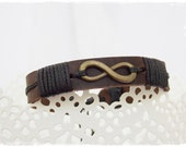 Men's Infinity Bracelet, Infinity Leather Bracelet, Infinity Friendship Bracelet, Leather Eternity Bracelet, BFF Men's Leather Bracelet Cuff