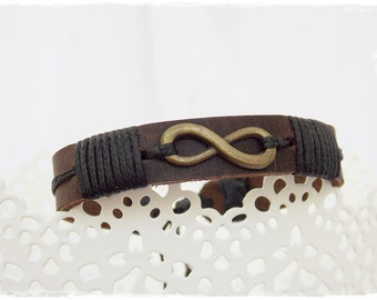 Men's Infinity Bracelet, Infinity Leather Bracelet, Infinity Friendship Bracelet, Leather Eternity Bracelet, BFF Men's Leather Bracelet Cuff