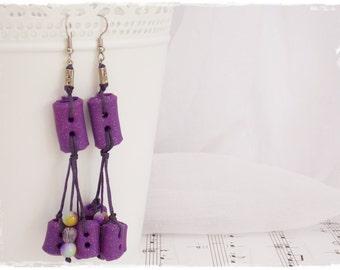 Purple Button Earrings, Long Dangle Earrings, Polymer Clay Earrings, Beaded Boho Earrings, Beach Summer Earrings, Extra Long Dangle Earrings