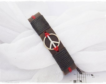 Peace Leather Bracelet, Pax Leather Bracelet, Men's Leather Cuff, Men's Peace Bracelet, Genuine Leather Bracelet, Handmade Bracelet Cuff