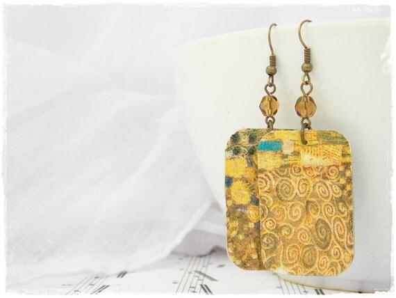 Adele Bloch-Bauer Earrings, Geometric Decoupage Earrings, Long Leather Earrings Inspired By Gustav Klimt, Leather Jewelry, Abstract Earrings