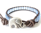 Elephant bracelet in ice blue and grey, jewelry gift for best friend, pale blue Czech glass beads on grey distressed leather