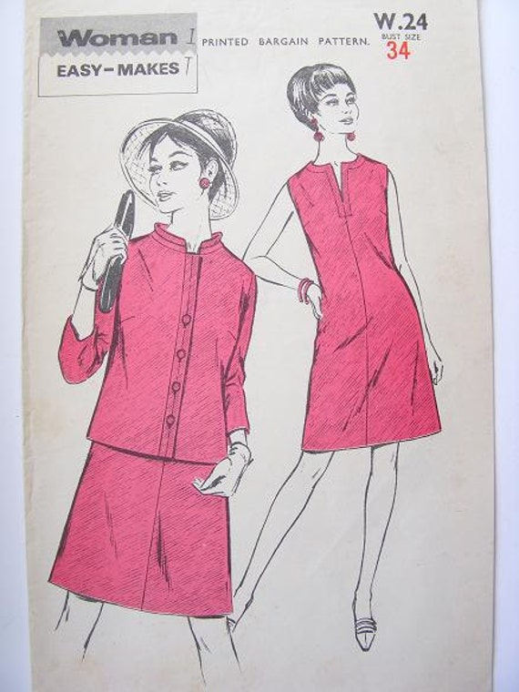 Misses' Shift Dress Jacket 1960s Vintage Sewing Pattern Woman Easy Makes Buttons Sleeves