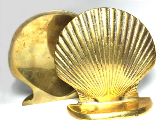 Brass Shell Bookends- great Hollywood Regency style