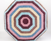 Beach Ball Stripe Pouf Ottoman- Footstool- Floor Ottoman- Terry cloth- by beckyzimmdesign