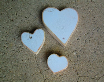 3 Weathered White Wooden Heart Cut Out Shapes Woodworking Craft Supplies