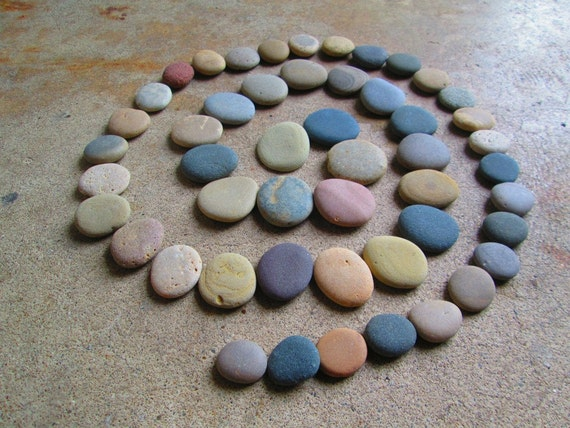 50 round flat smooth beach stones mosaic craft supplies
