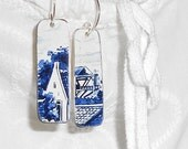 SALE Recycled Metal Dutch Cookie Tin Earrings . . . Repurposed Village Scene on Silver Ear Wires . . . Blue White, all right