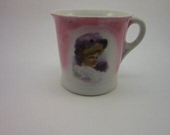 Shaving mug lusterware pink