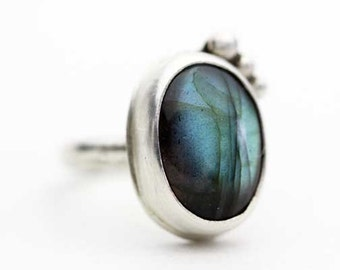 Labradorite and Sterling Dot Ring, Green Blue Shimmer, Unique Ring, Size 7.5