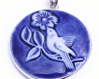 Porcelain and sterling silver pendant
