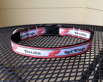 Dog Collar Made from Detroit Red Wings Inspired Ribbon