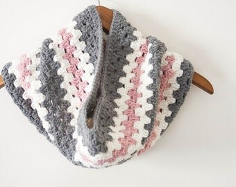 Custom: Gray Pink and Cream Cowl Scarf Crochet Woman's Granny Stripe Warm Winter Spring