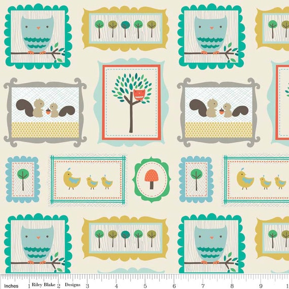 Scenic Route by Deena Rutter for Riley Blake Designs, Critters Cream, SKU C3661, 1 yd