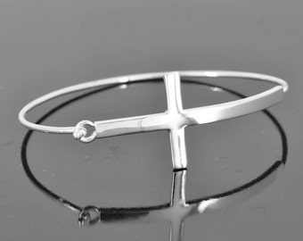 Cross bangle, personalized, ID bangle, initial, love, friendship, bracelet, cuff, sterling silver, name