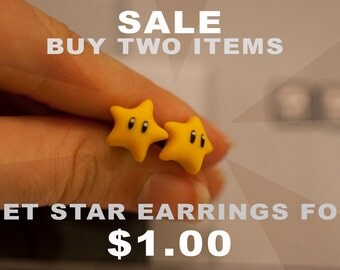 Buy TWO items and get a pair of star earrings for ONE DOLLAR!!