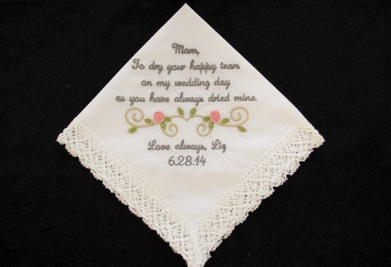 Embroidered Wedding Handkerchief for Mother of the Bride