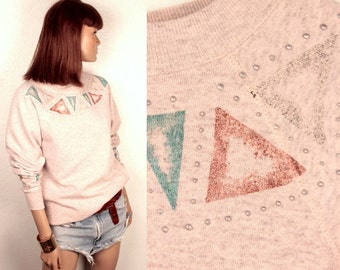 25% OFF SALE // vintage tribal sweatshirt // glitter embellishment