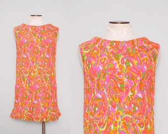 1960s Mini Dress / Vintage 60s Go Go Dress / Medium Large