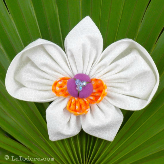 Fabric Flower Pin Brooch Orchid Pattern PDF Pattern Tutorial Kanzashi Flowers Headbands Phaleanopsis Bouquet Embellishment Wedding La Todera