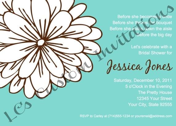 Big Brown Flower Bridal Shower Invitation-YOU PRINT- 5 Designs