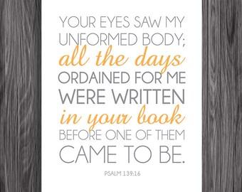 Nursery Decor. Psalm 139:16. 8x10in  DIY Printable Christian Poster. PDF. Bible Verse.