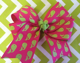 Lime & hot pink whale bow