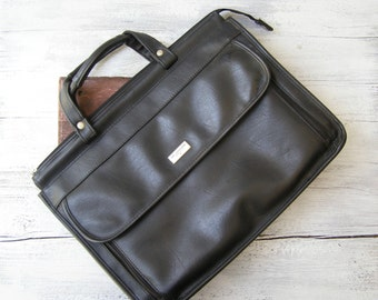 Man Black Briefcase Vintage, Retro Man Handbag, US Luggage New York, Faux Leather 80s Office Bag, Gift for Dad Boyfriend Compartment Handbag
