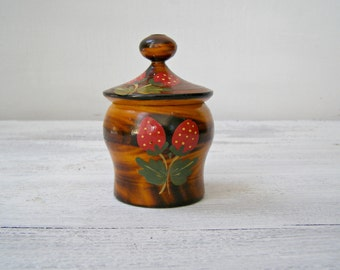 Folk art hand painted strawberry wood jar, Artisan Painted small wood jar, Rustic, collectible Retro Kitchenware, Ethnic European wood Art