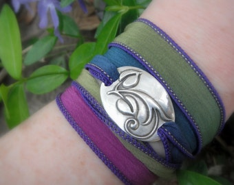 Ribbon Bracelet- Boho Silk Wrap Bracelet- Yoga Jewelry- Elven Vine - Artisan Handcrafted with Recycled Silver and Hand Dyed Silk