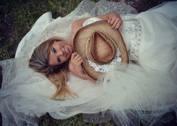 bride cowgirl wedding hat