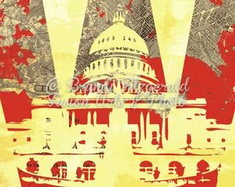 Washington DC Capitol Vintage Map Decor Product Options and Pricing via Dropdown Menu