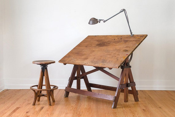Vintage Industrial Large Keuffel Amp Esser Drafting Table