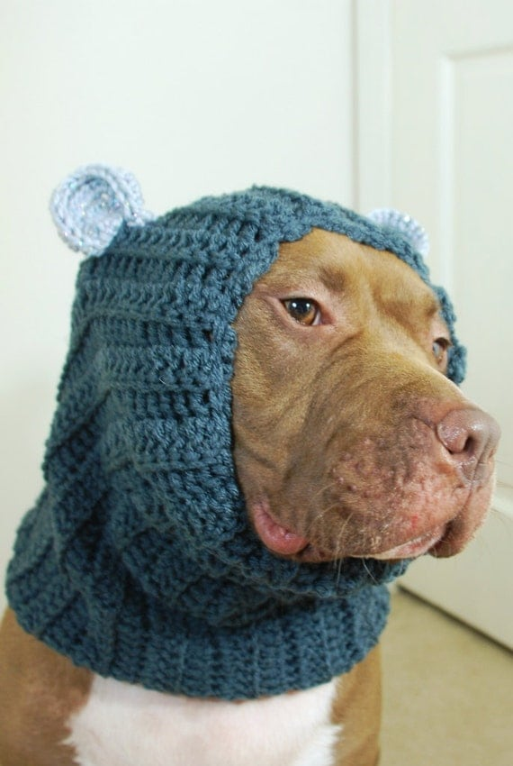 Knitting Pattern Dog Snood : Dog Snood Grey Crochet with Ears for Large Breeds